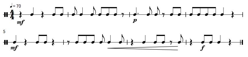 楠木作曲:リズム1記号あり 譜面
